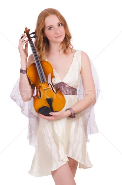Starożytnych bogini skrzypce odizolowany biały kobieta Zdjęcia stock © Elnur