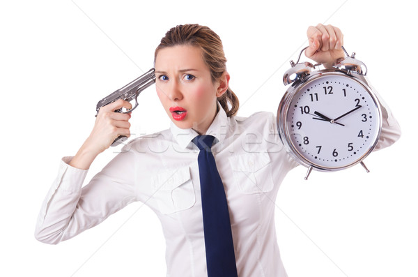 Woman with clock killing the time Stock photo © Elnur