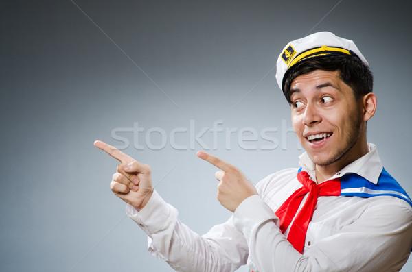 面白い 船乗り 着用 帽子 男 幸せ ストックフォト © Elnur
