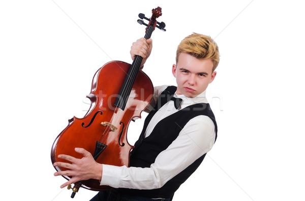 Engraçado homem violino branco arte concerto Foto stock © Elnur