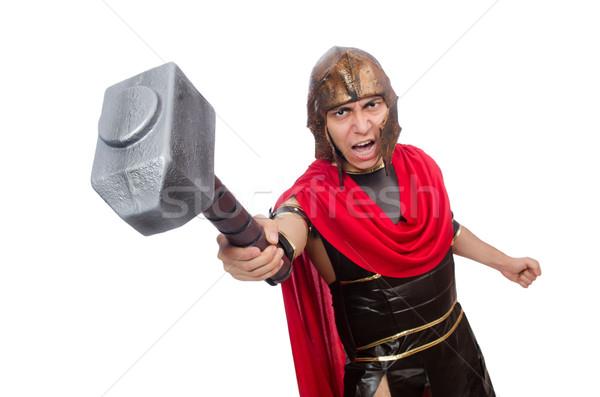 Gladiator geïsoleerd witte Rood hamer soldaat Stockfoto © Elnur