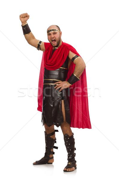 Gladiador isolado branco vermelho músculo lutar Foto stock © Elnur