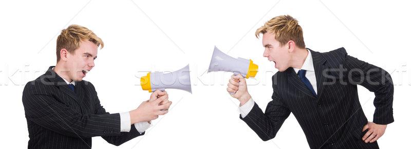 Kettő alkalmazottak beszél izolált fehér üzletember Stock fotó © Elnur