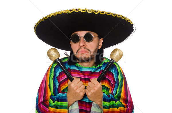 Stock photo: Handsome man in vivid poncho holding maracas isolated on white