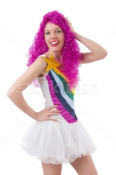Nő színes paróka izolált fehér haj Stock fotó © Elnur
