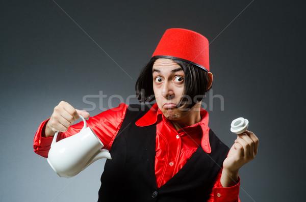 человека красный Hat счастливым чай Сток-фото © Elnur