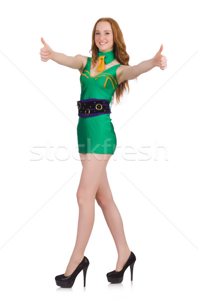 Young nice girl thums up isolated on white Stock photo © Elnur