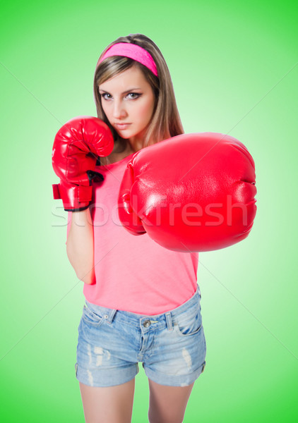 Jovem senhora luvas de boxe branco esportes fundo Foto stock © Elnur