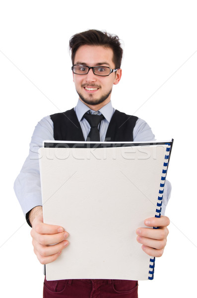 Office employee holding paper isolated on white Stock photo © Elnur