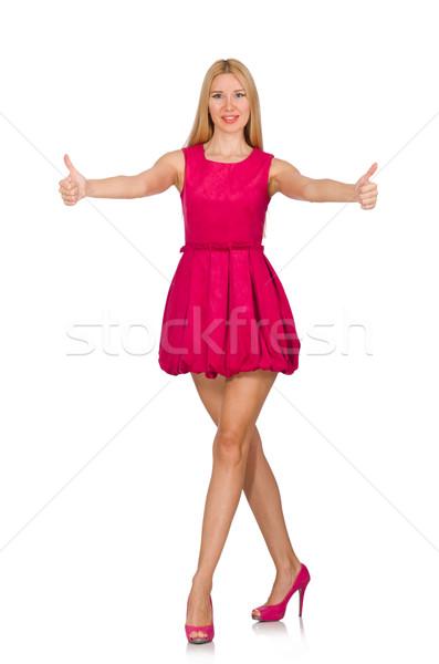Foto stock: Mulher · jovem · rosa · vestir · isolado · branco · mulher