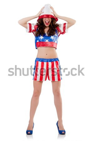 Woman in costume pushing virtual obstacle Stock photo © Elnur