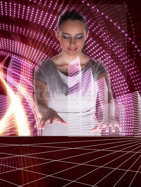 The woman dj in futurisctic concept Stock photo © Elnur