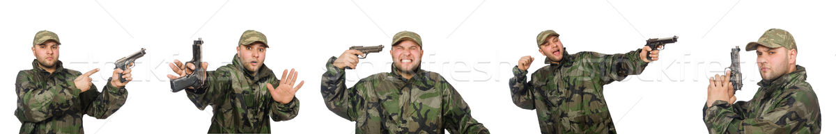Stok fotoğraf: Asker · tabanca · yalıtılmış · beyaz · yeşil · genç
