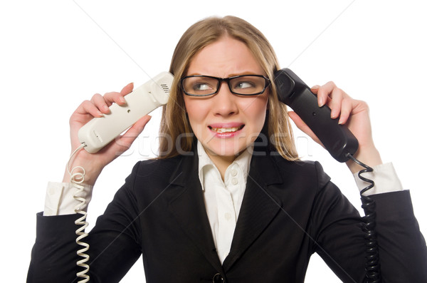 Pretty office employee holding phone isolated on white Stock photo © Elnur