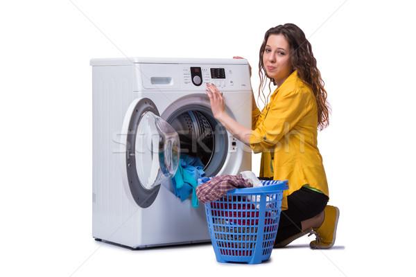 Kobieta zmęczony pranie odizolowany biały domu Zdjęcia stock © Elnur
