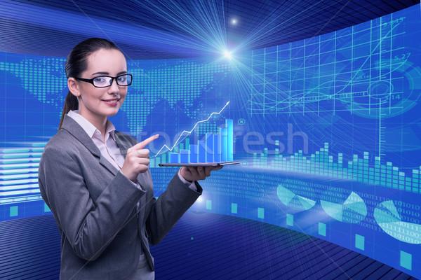 Geschäftsfrau hat Handel Business Geld Arbeit Stock foto © Elnur