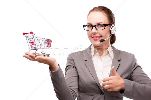 Businesswoman in telesales concept isolated on white Stock photo © Elnur