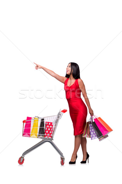 Nő vörös ruha vásárlás izolált fehér üzlet Stock fotó © Elnur