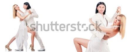 Kadın moda giyim mutlu kadın beyaz Stok fotoğraf © Elnur