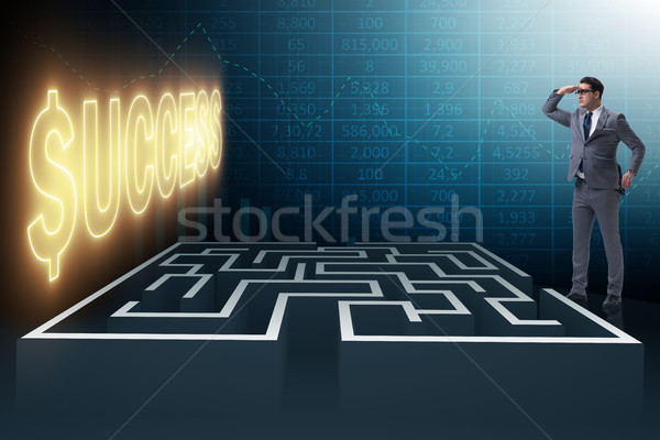 Man doolhof zakenman business muur Stockfoto © Elnur