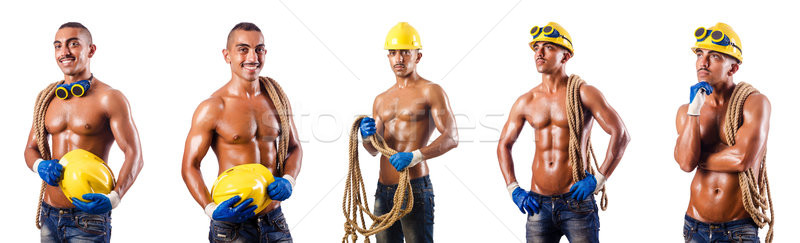 Muscular construtor ferramentas isolado branco trabalhar Foto stock © Elnur