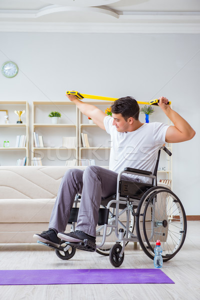 Disabled man recovering from injury at home Stock photo © Elnur