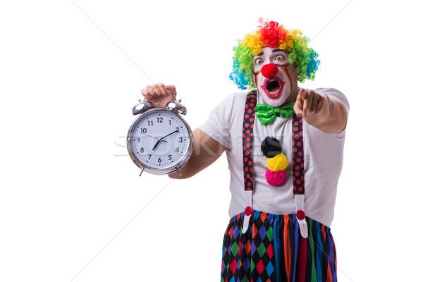 Vicces bohóc ébresztőóra izolált fehér férfi Stock fotó © Elnur