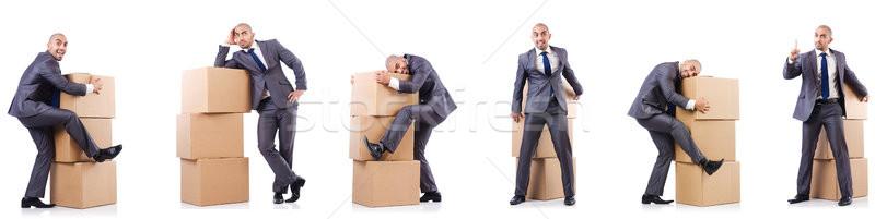 коллаж фотографий человека коробки бизнеса служба Сток-фото © Elnur