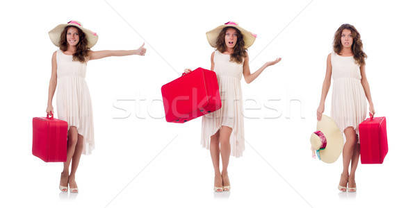 женщину чемодан изолированный белый пляж Сток-фото © Elnur