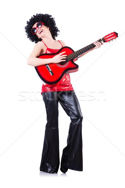 Jóvenes cantante afro corte guitarra música Foto stock © Elnur