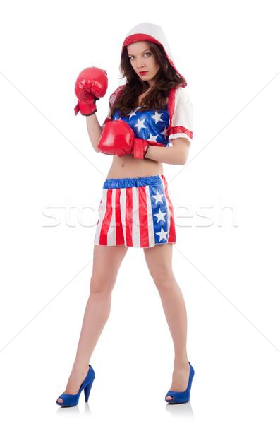 Mujer boxeador uniforme símbolos deporte cuerpo Foto stock © Elnur