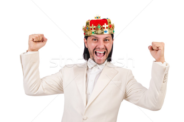 Funny king in white suit Stock photo © Elnur