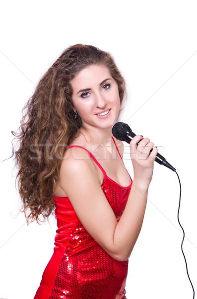 Jonge vrouw zingen geïsoleerd witte partij gelukkig Stockfoto © Elnur