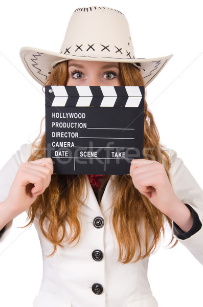 Young   cowgirl  with movie board isolated on white Stock photo © Elnur