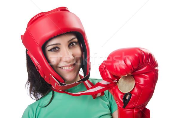 女子 拳擊 孤立 白 身體 健身 商業照片 © Elnur