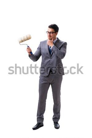 Vicces férfi fegyver izolált fehér kéz Stock fotó © Elnur