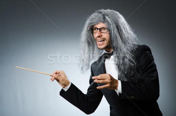 Vicces hosszú ősz haj kéz férfi háttér Stock fotó © Elnur