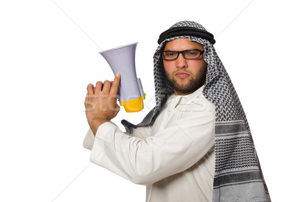 Arab férfi hangfal izolált fehér üzlet Stock fotó © Elnur
