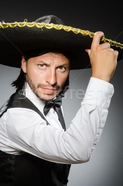 Meksika adam geniş kenarlı şapka yalıtılmış beyaz saç Stok fotoğraf © Elnur