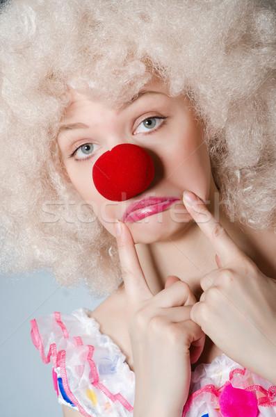 ピエロ 白 かつら グレー 笑顔 幸せ ストックフォト © Elnur