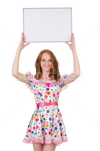 Fiatal nő divat modell űr öltöny fehér Stock fotó © Elnur