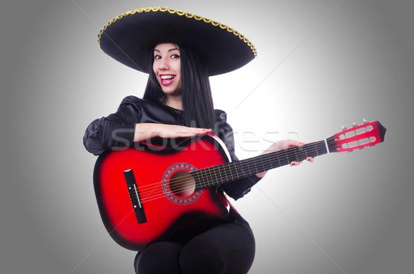 Gitáros izolált fehér nő buli gitár Stock fotó © Elnur