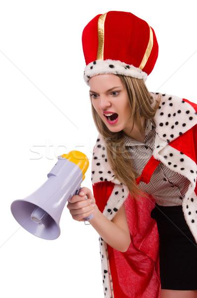 Rainha empresário alto-falante engraçado mulher trabalhar Foto stock © Elnur