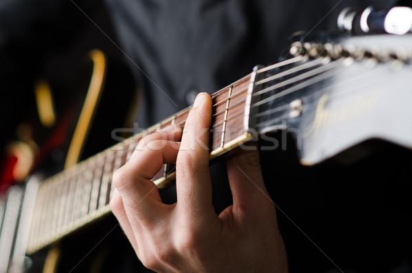 Stockfoto: Man · gitaar · concert · partij · metaal · leuk