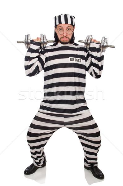 Börtön bennlakó súlyzók izolált fehér férfi Stock fotó © Elnur