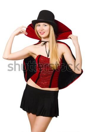Mooie piraat meisje zwaard geïsoleerd Stockfoto © Elnur