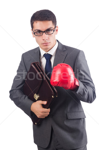 Young businessman with briefcase and box gloves  isolated on whi Stock photo © Elnur