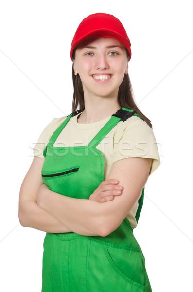 Stock fotó: Női · munkás · visel · izolált · fehér · lány
