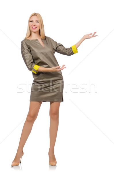 グレー サテン ドレス 孤立した 白 女性 ストックフォト © Elnur