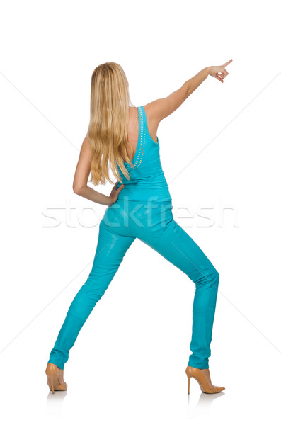 Beautiful girl in blue clothing isolated on white Stock photo © Elnur